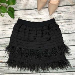 NWOT BCBGMaxAzria Maliha Ostrich Feather Skirt XS
